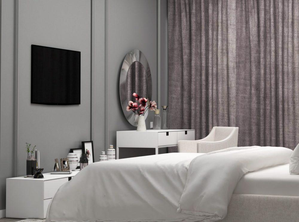 საძინებლის დიზაინი რუხი ფერის